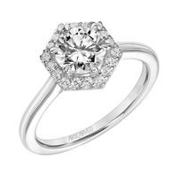 14k White Gold and Diamond Hexagon Halo Engagement Ring by ArtCarved