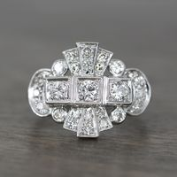 Vintage Art Deco 14k White Gold & Diamond Fashion Ring