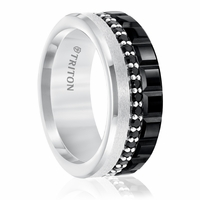 Black Sapphire & Black & White Tungsten Ring