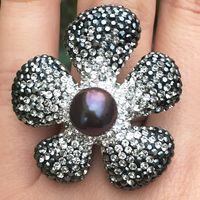 Black & White Swarovski Crystal, Pearl, Sterling Silver Flower Ring
