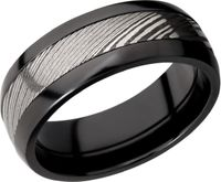 Black Zirconium and Damascus Steel Band by Lashbrook Designs