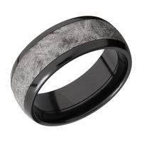 Black Zirconium and Meteorite Wedding Band by Lashbrook Designs