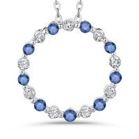 10kt White Gold, Blue and White Diamond Circle Necklace