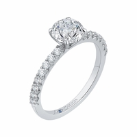 Classic French Set Diamond Engagement Ring by Carizza