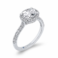 Carizza East West Oval Halo Engagment Ring