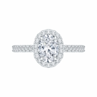 Carizza Oval Halo Semi-Mount Engagement Ring