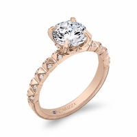 Carizza Rose Gold Round Diamond Engagement Ring