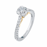 Carizza Two-Tone Pave Engagment Ring