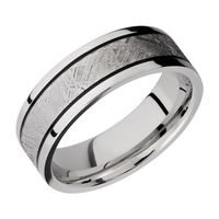 Cobalt Chrome Band with Gibeon Meteorite Inlay by Lashbrook Designs