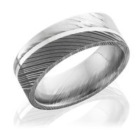 Damascus Steel Flat Band with Sterling Silver Inlay