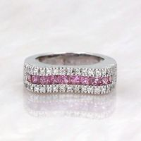 14k White Gold Saddle Ring with Diamonds & Pink Sapphires