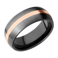 Zirconium and Rose Gold Wedding Band by Lashbrook Designs