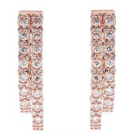 10k Rose Gold Double Diamond Hoop Inside Out Earrings