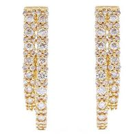 10k Yellow Gold 1ctw Double Diamond Inside Out Hoop Earrings