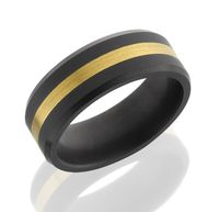 Elysium Solid Diamond Men's Wedding Band with 24k Yellow Gold Inlay