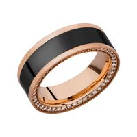 Zeus Elysium Black Diamond, 18k Rose Gold & Diamond Inset Men's Wedding Band