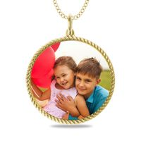 Engraveable Round Rope Edge Picture Pendant