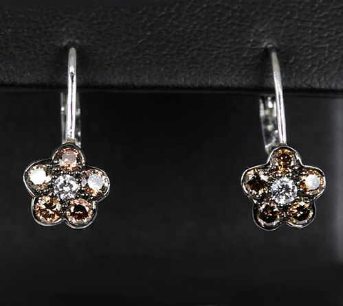 18k White Gold Espresso & White Diamond Flower Earrings
