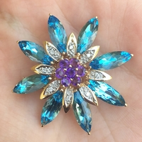 Estate 14K Gold, Blue Topaz, Amethyst and Diamond Pin
