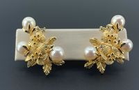 Estate 14K Yellow Gold, Pearl and Diamond French Clip Backs