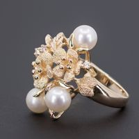 Estate 14K Yellow Gold, Pearl and Diamond Fun Ring