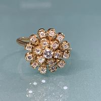 14K Yellow Gold & Diamond Starburst Ring