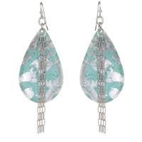 Sterling Silver Leaf, Surgical Steel & Enamel, Turquoise Medium Teardrop Chain Earrings Elements Collection by Evocateur