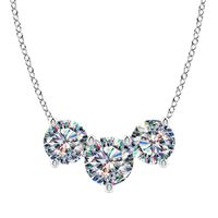 14k White Gold Facets of Fire 3 Diamond Necklace