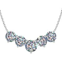 14k White Gold Facets of Fire 5 Diamond Necklace