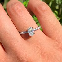14k White Gold Facets of Fire French Set Hidden Halo Oval Engagement Ring