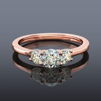 Facets of Fire 3 Stone Diamond Ring, 14K Rose Gold