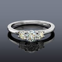 Facets of Fire 3 Stone Diamond Ring, 14K White Gold