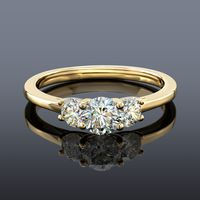 Fire Polish 3 Stone Diamond Ring, Yellow Gold