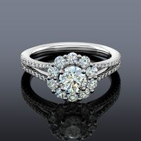 Fire Polish Diamond Halo Engagement Ring