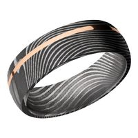 Flattwist Damascus Steel and Rose Gold Wedding Band by Lashbrook Designs