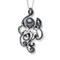 Sterling Silver, Ruby & Tahitian Pearl Hanging Octopus Necklace by Galatea