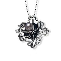 Sterling Silver, Hand Carved Tahitian Pearl & Ruby Octopus Necklace by Galatea