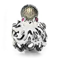 Sterling Silver, Tahitian Pearl & Ruby Octopus Ring by Galatea