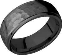 Hammer Finish Zirconium Wedding Band By Lashbrook
