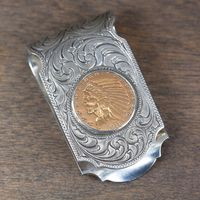 Hand Engraved Western Scroll and $5 Indian Head Coin Money Clip