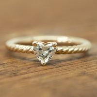 Heart Shaped Diamond Twist Engagement Ring