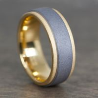 Sand Blast 18k Yellow Gold & Tantalum Men's Wedding Band by Lashbrook Designs