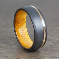 Black Zirconium, 14k Yellow Gold & Osage Orange Wood Men's Wedding Band by Lashbrook Designs