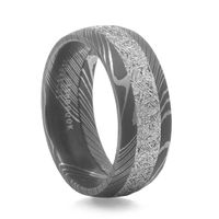 Damascus Steel and Meteorite Mens wedding band by Lashbrook Designs