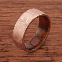 14k Distressed Rose Gold with Natcoco Wood Sleeve Mens Wedding Band by Lashbrook Designs