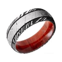 Damascus Steel, Padauk Wood with Gibeon Meteorite Men's Wedding Band by Lashbrook Designs