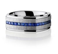 Lashbrook Square Wedding Band with Princess Cut Sapphires