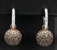 18k White & Rose Gold, Light Champagne Diamond Dangle Earrings