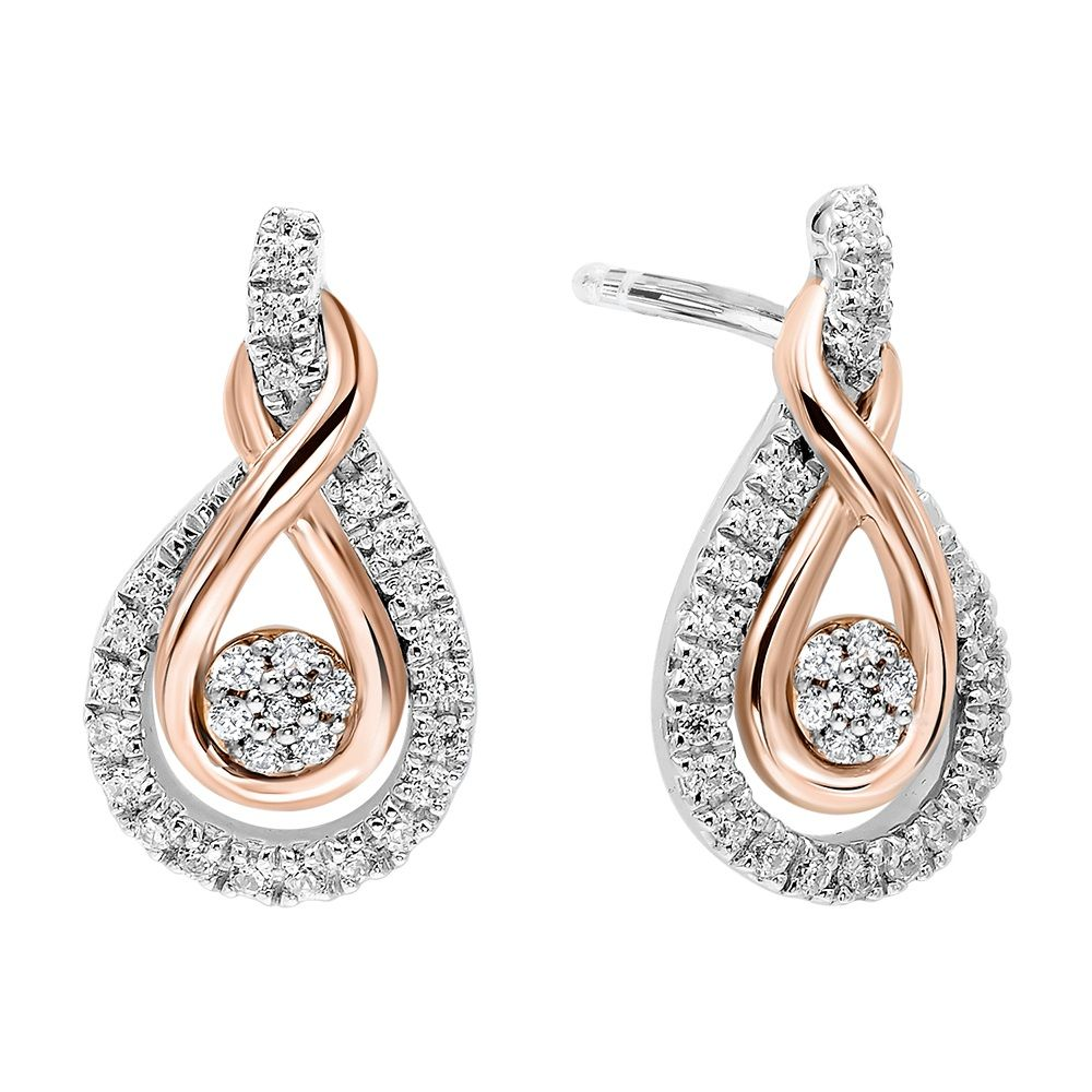 Details about  /10K ROSE GOLD LOVE KNOT STUD EARRINGS