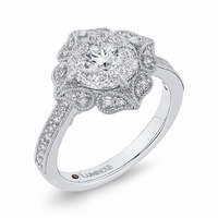 Luminous Flower Halo Cluster Engagement Ring